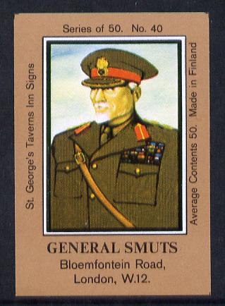 Match Box Labels - General Smuts (No.40 from a series of 50 Pub signs) light brown background, very fine unused condition (St George's Taverns)