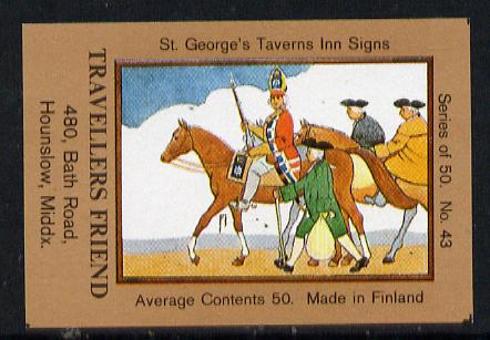 Match Box Labels - Travellers Friend (No.43 from a series of 50 Pub signs) light brown background, very fine unused condition (St George's Taverns)