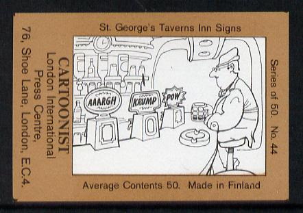 Match Box Labels - Cartoonist (No.44 from a series of 50 Pub signs) light brown background, very fine unused condition (St George's Taverns)