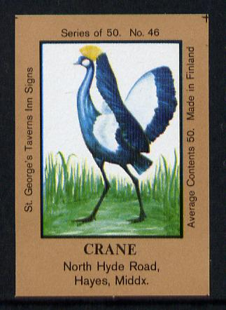 Match Box Labels - Crane (No.46 from a series of 50 Pub signs) light brown background, very fine unused condition (St George's Taverns), stamps on cranes    birds