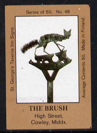 Match Box Labels - The Brush (No.48 from a series of 50 Pub signs) light brown background, very fine unused condition (St George's Taverns)