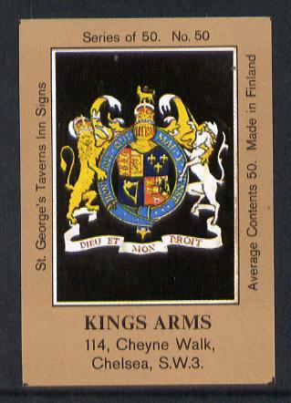 Match Box Labels - Kings Arms (No.50 from a series of 50 Pub signs) light brown background, very fine unused condition (St George's Taverns)