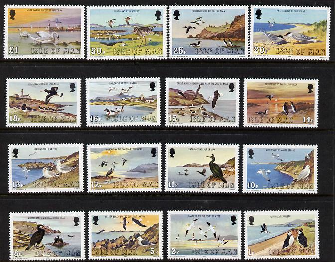 Isle of Man 1983-85 Marine Birds defnitive set of 16 values 1p to \A31 unmounted mint SG 232-47