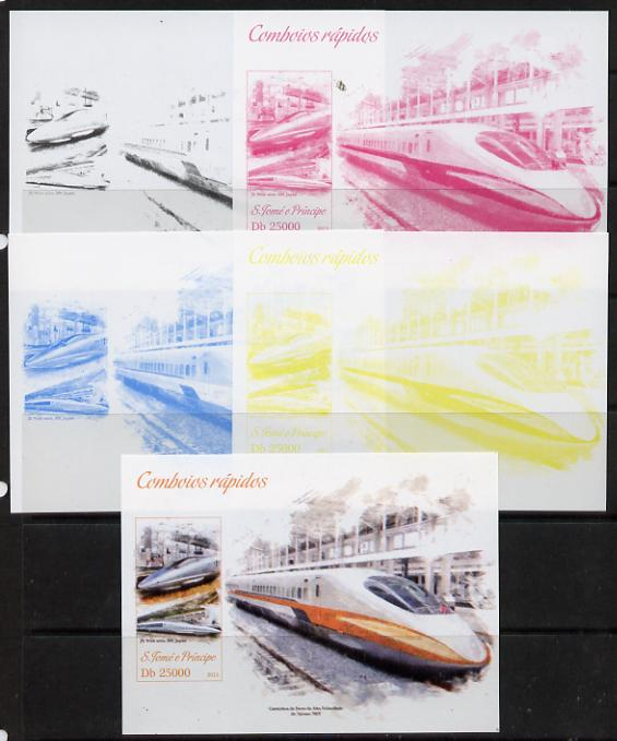 St Thomas & Prince Islands 2013 High-Speed Trains #1 souvenir sheet - the set of 5 imperf progressive colour proofs comprising the 4 basic colours plus all 4-colour composite unmounted mint