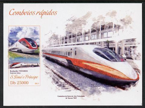 St Thomas & Prince Islands 2013 High-Speed Trains #2 imperf souvenir sheet unmounted mint. Note this item is privately produced and is offered purely on its thematic appeal