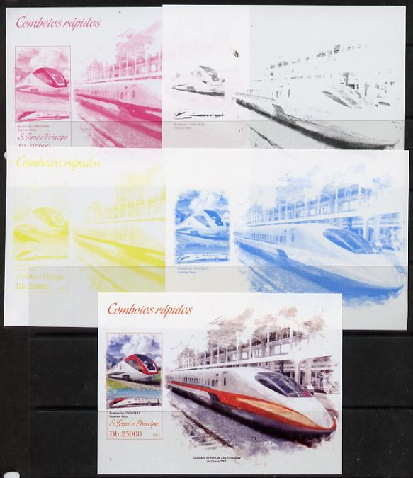 St Thomas & Prince Islands 2013 High-Speed Trains #2 souvenir sheet - the set of 5 imperf progressive colour proofs comprising the 4 basic colours plus all 4-colour composite unmounted mint