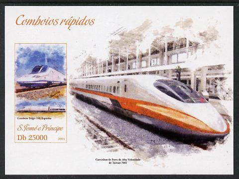 St Thomas & Prince Islands 2013 High-Speed Trains #3 imperf souvenir sheet unmounted mint