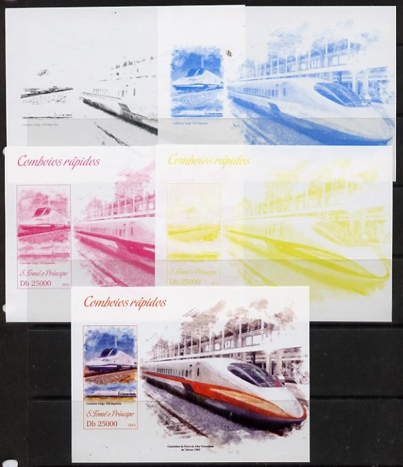 St Thomas & Prince Islands 2013 High-Speed Trains #3 souvenir sheet - the set of 5 imperf progressive colour proofs comprising the 4 basic colours plus all 4-colour composite unmounted mint