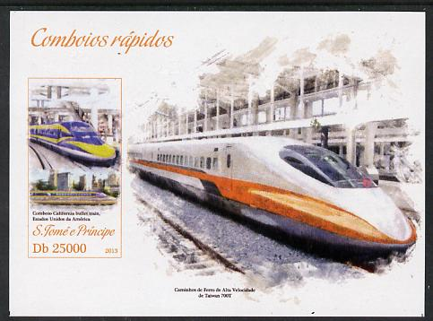 St Thomas & Prince Islands 2013 High-Speed Trains #4 imperf souvenir sheet unmounted mint. Note this item is privately produced and is offered purely on its thematic appeal