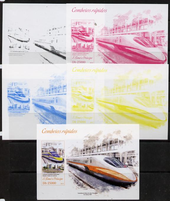 St Thomas & Prince Islands 2013 High-Speed Trains #4 souvenir sheet - the set of 5 imperf progressive colour proofs comprising the 4 basic colours plus all 4-colour composite unmounted mint