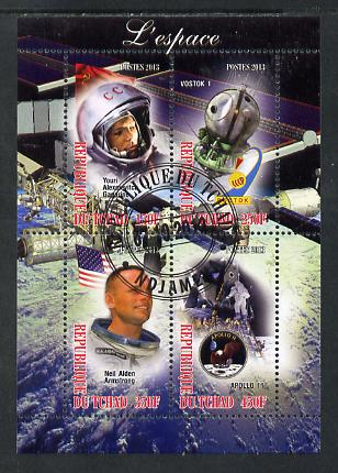 Chad 2013 Space perf sheetlet containing 4 values fine cto used