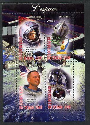Chad 2013 Space perf sheetlet containing 4 values unmounted mint