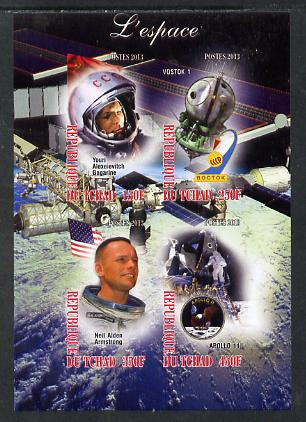 Chad 2013 Space imperf sheetlet containing 4 values unmounted mint