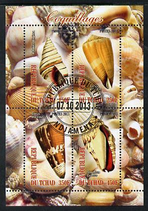 Chad 2013 Sea Shells perf sheetlet containing 4 values fine cto used