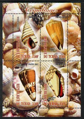 Chad 2013 Sea Shells perf sheetlet containing 4 values unmounted mint