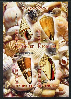 Chad 2013 Sea Shells imperf sheetlet containing 4 values unmounted mint