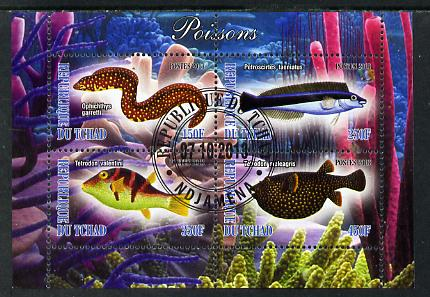 Chad 2013 Fish #1 perf sheetlet containing 4 values fine cto used