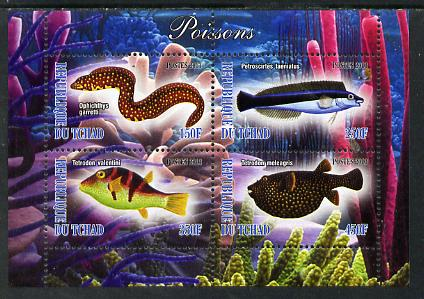 Chad 2013 Fish #1 perf sheetlet containing 4 values unmounted mint