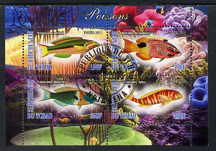 Chad 2013 Fish #2 perf sheetlet containing 4 values fine cto used