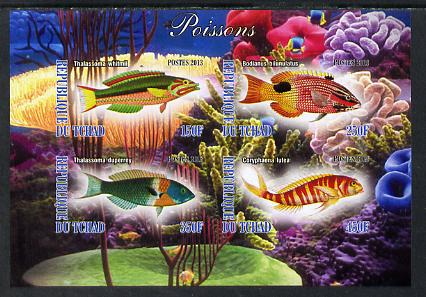 Chad 2013 Fish #2 imperf sheetlet containing 4 values unmounted mint, stamps on , stamps on  stamps on marine life, stamps on  stamps on fish