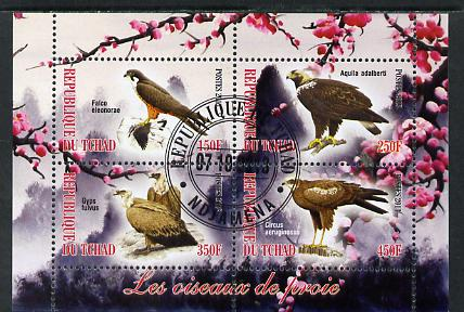 Chad 2013 Birds of Prey perf sheetlet containing 4 values fine cto used