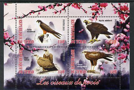 Chad 2013 Birds of Prey perf sheetlet containing 4 values unmounted mint