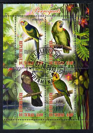 Chad 2013 Birds - Parrots perf sheetlet containing 4 values fine cto used