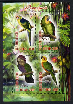 Chad 2013 Birds - Parrots perf sheetlet containing 4 values unmounted mint