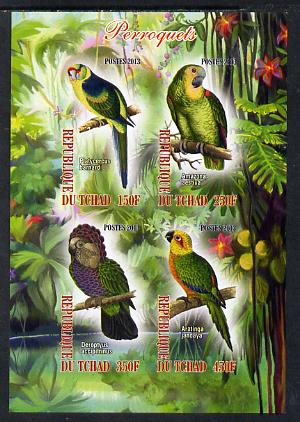 Chad 2013 Birds - Parrots imperf sheetlet containing 4 values unmounted mint