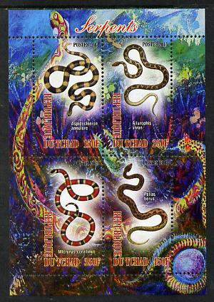 Chad 2013 Snakes perf sheetlet containing 4 values unmounted mint