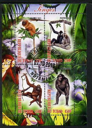 Chad 2013 Apes perf sheetlet containing 4 values fine cto used