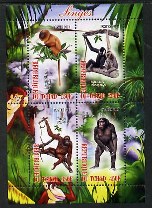 Chad 2013 Apes perf sheetlet containing 4 values unmounted mint, stamps on animals, stamps on apes, stamps on primates, stamps on monkeys