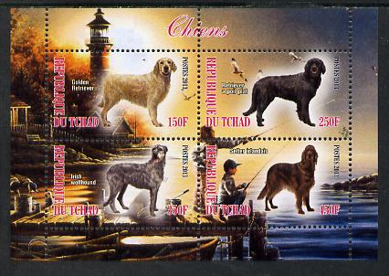 Chad 2013 Dogs #3 perf sheetlet containing 4 values unmounted mint