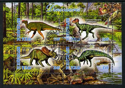 Chad 2013 Dinosaurs #1 perf sheetlet containing 4 values fine cto used