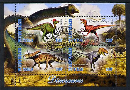 Chad 2013 Dinosaurs #2 perf sheetlet containing 4 values fine cto used
