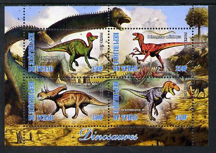Chad 2013 Dinosaurs #2 perf sheetlet containing 4 values unmounted mint