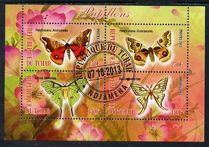 Chad 2013 Butterflies #07 perf sheetlet containing 4 values fine cto used, stamps on butterflies