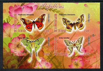 Chad 2013 Butterflies #07 imperf sheetlet containing 4 values unmounted mint