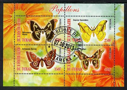 Chad 2013 Butterflies #08 perf sheetlet containing 4 values fine cto used