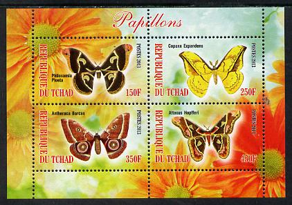 Chad 2013 Butterflies #08 perf sheetlet containing 4 values unmounted mint