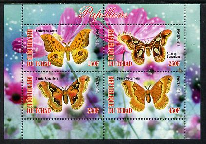 Chad 2013 Butterflies #09 perf sheetlet containing 4 values unmounted mint
