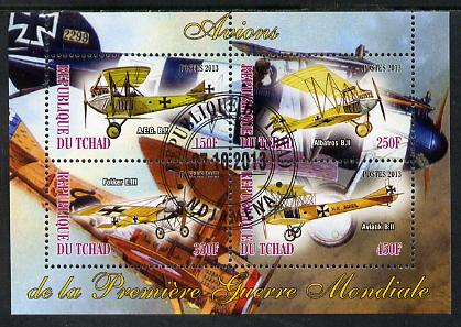Chad 2013 Aircraft of WW1 #1 perf sheetlet containing 4 values fine cto used