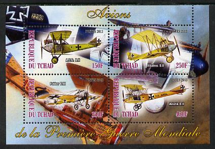 Chad 2013 Aircraft of WW1 #1 perf sheetlet containing 4 values unmounted mint