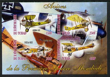 Chad 2013 Aircraft of WW1 #1 imperf sheetlet containing 4 values unmounted mint