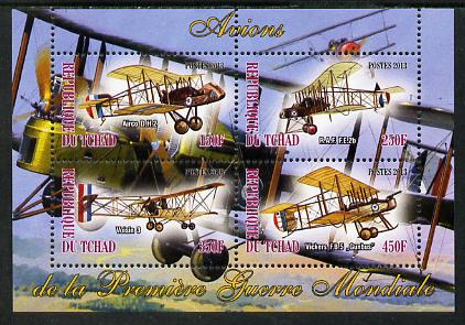 Chad 2013 Aircraft of WW1 #2 perf sheetlet containing 4 values unmounted mint