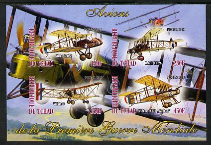 Chad 2013 Aircraft of WW1 #2 imperf sheetlet containing 4 values unmounted mint
