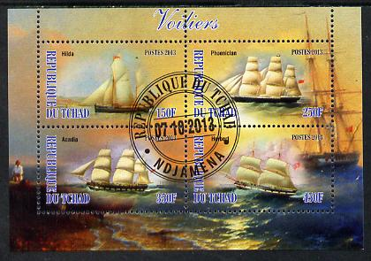 Chad 2013 Sailing Ships #1 perf sheetlet containing 4 values fine cto used