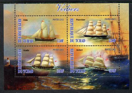 Chad 2013 Sailing Ships #1 perf sheetlet containing 4 values unmounted mint