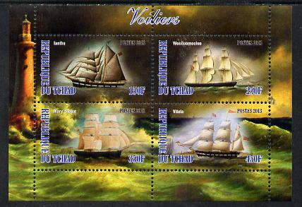 Chad 2013 Sailing Ships #2 perf sheetlet containing 4 values unmounted mint