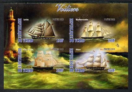 Chad 2013 Sailing Ships #2 imperf sheetlet containing 4 values unmounted mint